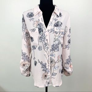 Candies Pink Floral Button Up Blouse